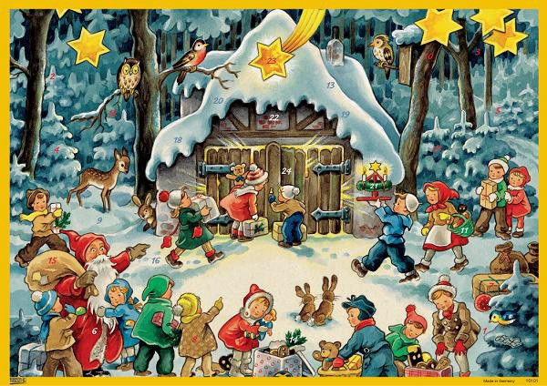 "Santa with Children Advent Calendar. 8"" x 11.5"". Absolutely Dear! Made in Germany. SHOP at www.mygrowingtraditions.com"