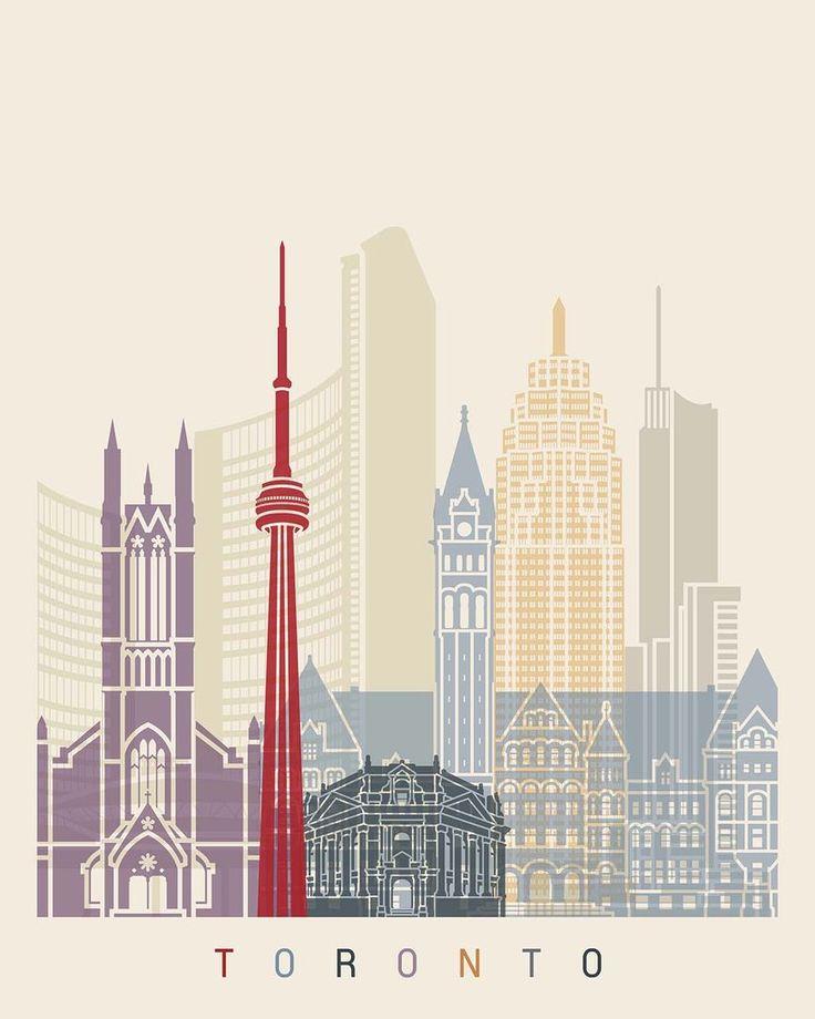 Toronto, Canada Skyline Vinyl Print