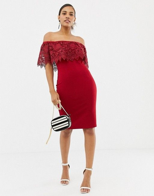 222475a6b2b Paper Dolls lace overlay bardot pencil dress in red