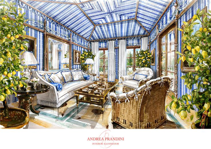interior illustration and visualization, watercolor illustration, handmade rendering - classic - Andrea Prandini