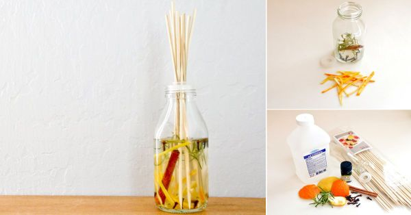 La próxima vez que cocines, guarda los restos de las hierbas aromáticas y las cáscaras de limones, naranjas, pomelos o limas. Podrás usarlos para preparar un refrescante difusor aromático para tu hogar. Para contener la fragancia, puedes reutilizar cualquier frasco de vidrio. Así, sólo deberás comprar los pinchos de madera, de manera tal que podrás perfumar tu casa a un costo mínimo.     Materiales:  - Una botella o un frasco de vidrio - Pinchos de madera - ¼ de taza de alcohol isopropílico…