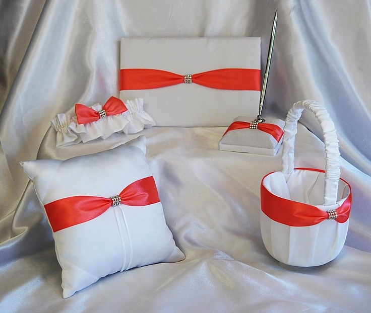 coral guava and black wedding | Beautiful White Guava Wedding Set Pillow Guest Book Flower Girl Basket ...