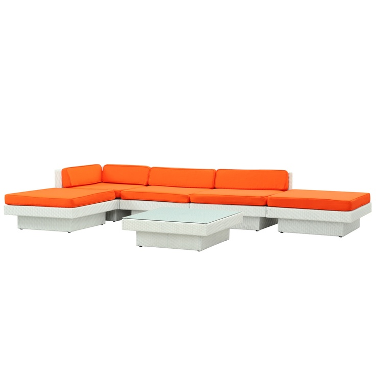 lexmod laguna outdoor wicker patio sectional sofa set in white with orange cushions