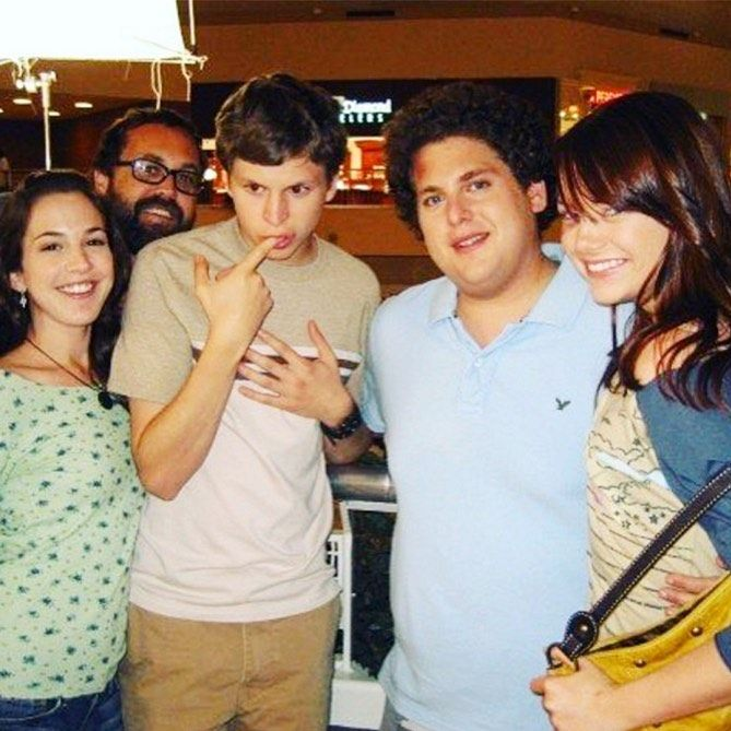 Superbad 2007 Martha Macisaac Michael Cera Jonah Hill And Emma Stone In 2020 Superbad Scenes Behind The Scenes