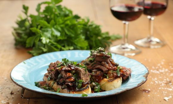 Chicken Livers & Capers on Crostini. I know a lot of people don't like the thought of liver but chicken livers are divine. Be a bit adventurous!