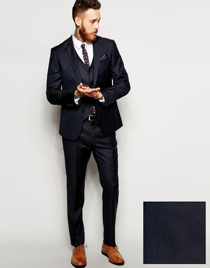 Image 1 - ASOS - Costume slim uni 100% laine - Bleu marine