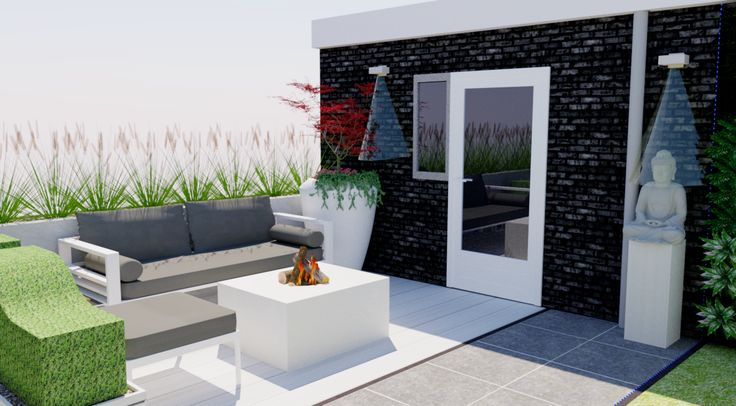 59 best images about moderne kleine tuin small modern garden on pinterest gardens led and urban - Landscaping modern huis ...