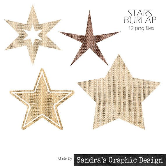 "Burlap clipart: ""STAR SILHOUET"" with 12 burlap stars (4 shapes, 3 colors) clipart 300 dpi PNG  files (515)"