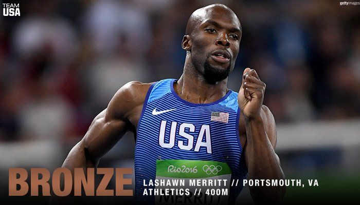 U.S. Olympic Team ‏@TeamUSA  Aug 14 What a run!! 😱  @lashawnmerritt takes home the #Bronze medal!