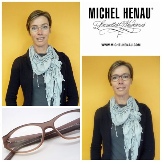 "Photo: When Alison came to collect her new glasses, the transformation was so stunning, we could not resist to ask if she'd allow us to take a ""before"" and ""after"" shot!  Alison chose this beautiful Michel Henau ""Ronomat"" to replace her current, semi-rimless metal frame. The ""Ronomat"" is a very feminine and elegant interpretation of the classic oval shape with a twist. It's semi-transparent satin finish and the soft milk chocolate colour provides definition without being ..."