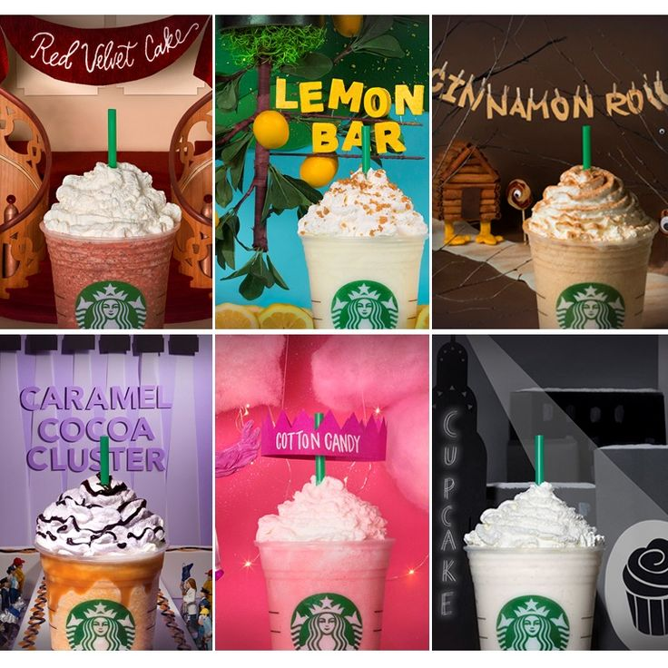 #Starbucks is introducing 6 new #Frappuccino flavors! The #fanflavors that will be available in-store are: Cotton Candy Frappuccino, Red Velvet Frappuccino, Cinnamon Roll Frappuccino, Lemon Bar Frappuccino, Cupcake Frappuccino and Caramel Cocoa Cluster Frappuccino