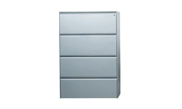 Lateral Filing Cabinet 4 Drawer Metal Silver. The lateral 4 drawer filing cabinet provides more filing space than a traditional filing cabinet. Built with a high quality silver metal, the filing cabinet is built to last and comes with a 5 year warranty. We guarantee the best price on this lateral filing cabinet.