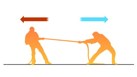 Forces: influences that tend to accelerate an object; a push or pull; measured in newtons. A vector quantity. - 2 people pulling on a rope is an example of a force