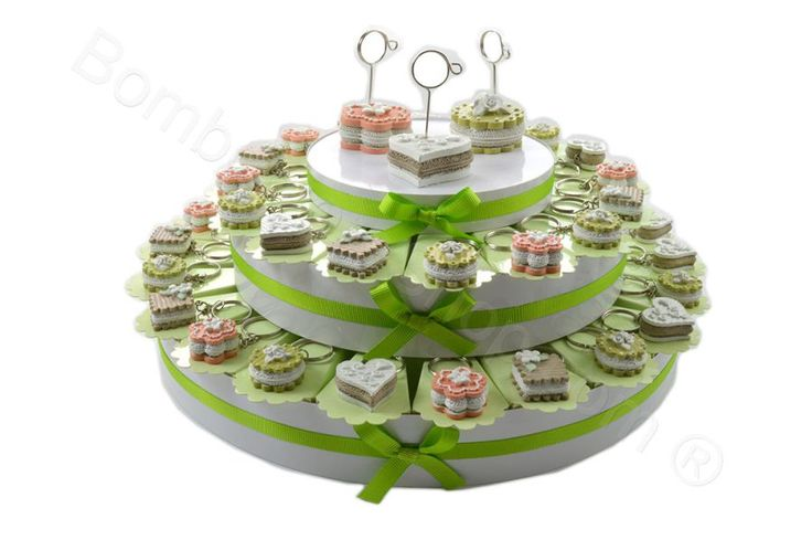 Torta bomboniera con 38 fette tortine portachiavi (LS)