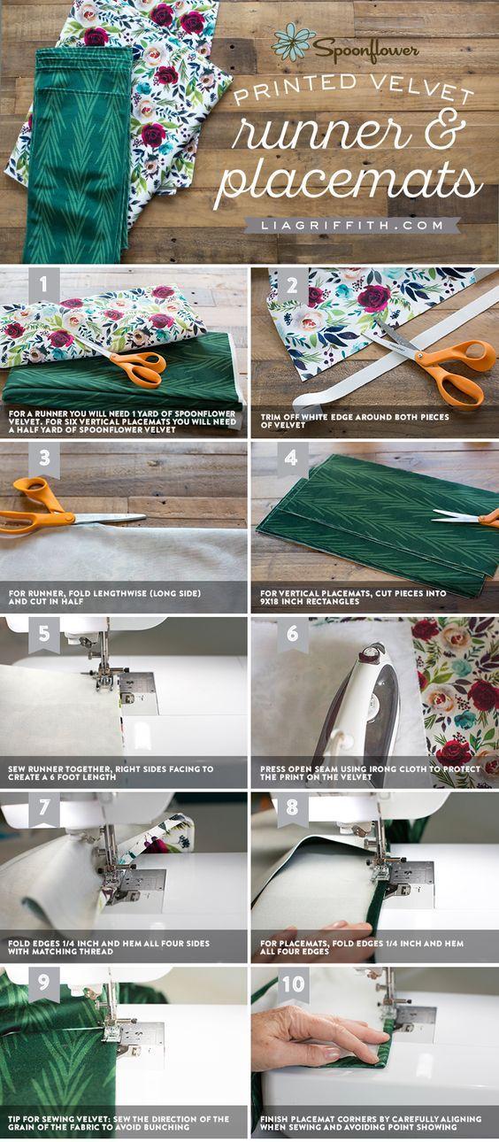 Winter Table Design with Velvet - Lia Griffith - www.liagriffith.com #spons @spoonflower #diyinspiration #sewing #tablesetting #diytable #velvet #diyideas #diyidea #madewithlia