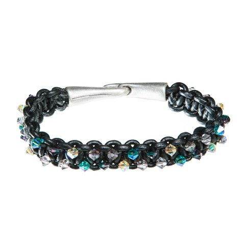 Sold - Black leather bracelet with blue and yellow Swarovski crystal