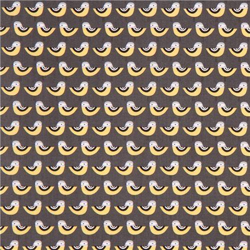 dark grey Robert Kaufman fabric cute bird Suzys Minis 4 Modes4u.com