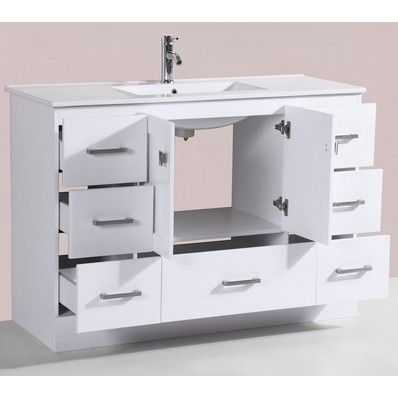 48'' Redondo White Single Modern Bathroom Vanity with Integrated Sink by Pacific Collection | Discount Bathroom Vanities