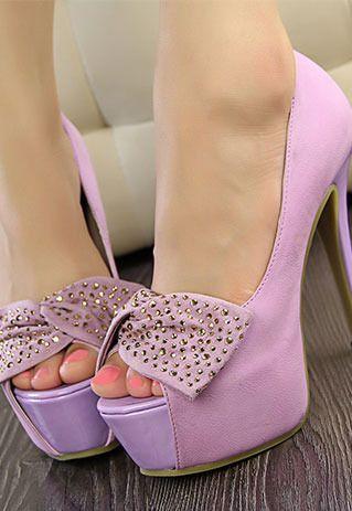 Elegant Sweet Rhinestone Bowknot Peep-toe High-heeled Shoes for big sale!