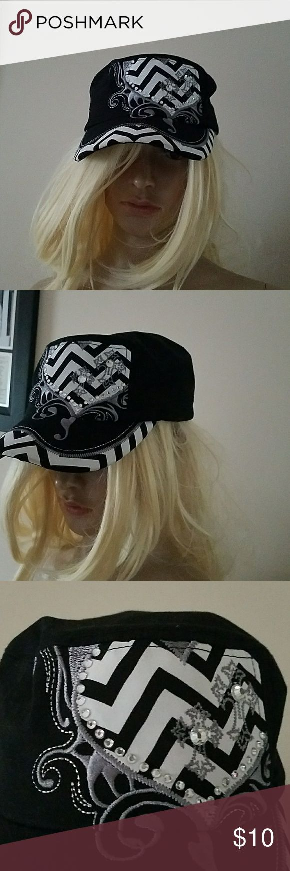Blingy black military hat NWOT OS Blingy black chevron stripe military hat NWOT adjustable Accessories Hats