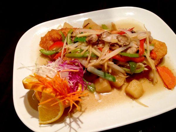 Crispy Fish Fillet With Ginger Sauce and Fresh Vegetables