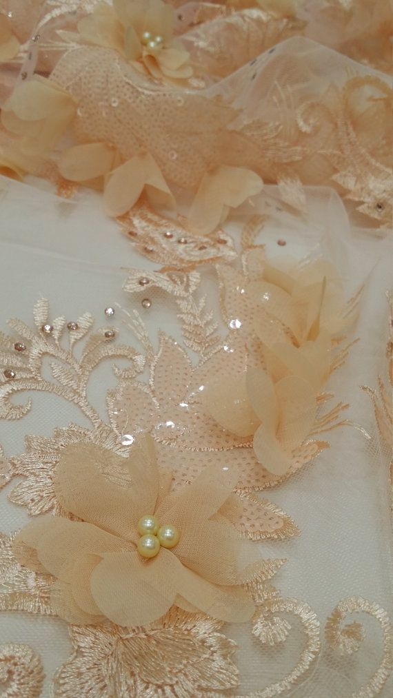 Pink lace fabric, beaded luxury 3D lace fabric, light peach color hand beaded high quality French chantilly lace fabric, sold by the yard