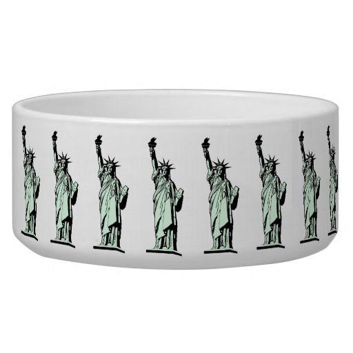 Statue of Liberty Pet Bowl #StatueOfLiberty #Statue #Liberty #Freedom #Immigrant #Refugee #USA #Dog #Cat #Animal #Pet #Bowl #PetBowl