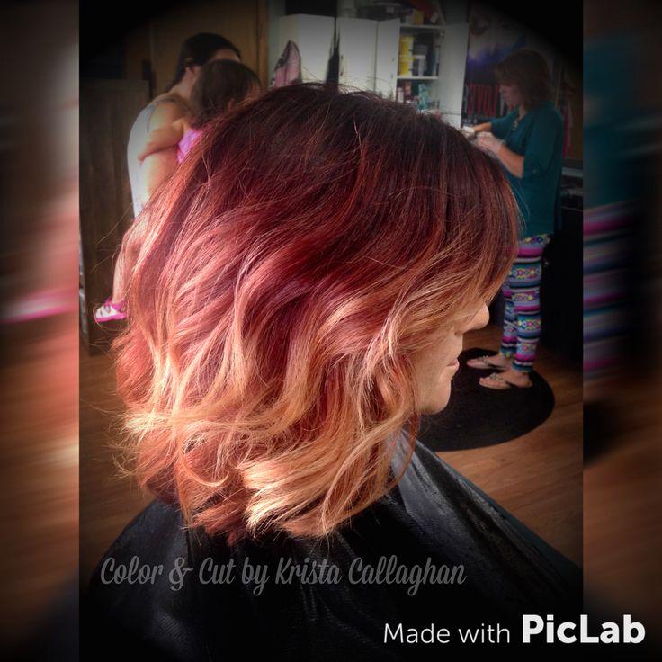 Red to blond balayge ombré, Rusk hair color, red hair, blond hair, gradient hair color, short hair #sugarnspicesalon #hair #amazinghair #rusk
