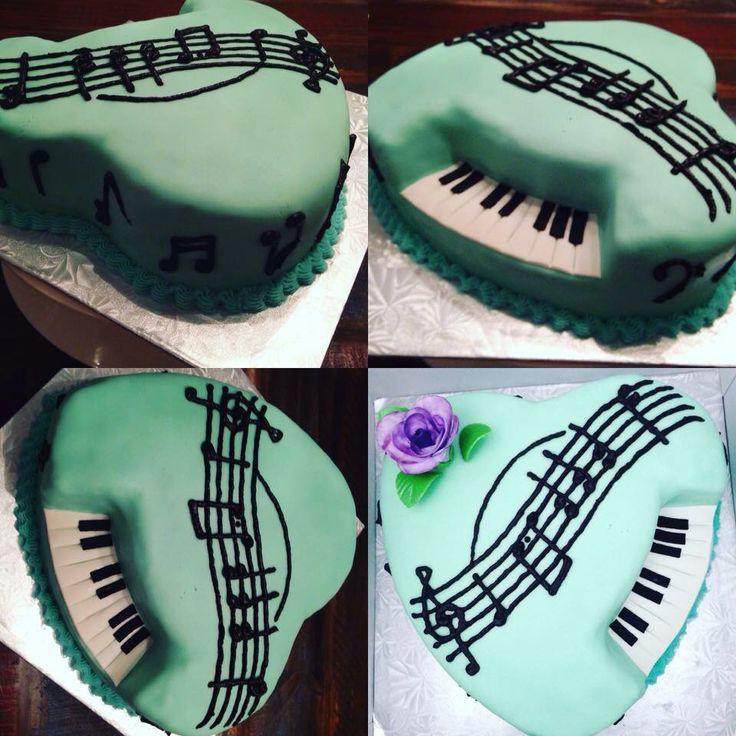 Heart shaped piano cake