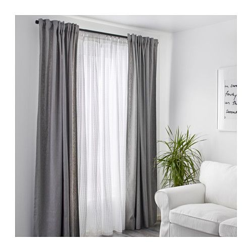 MATILDA Sheer curtains, 1 pair, white - sheers for living and bedroom and maybe office