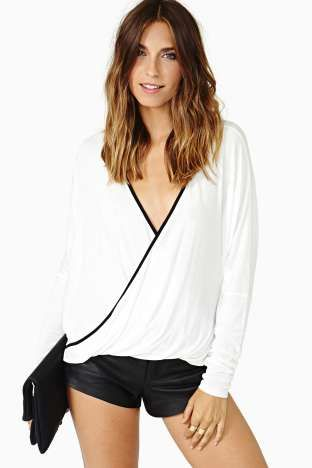Au Contraire Wrap Top $48.00 #Factory