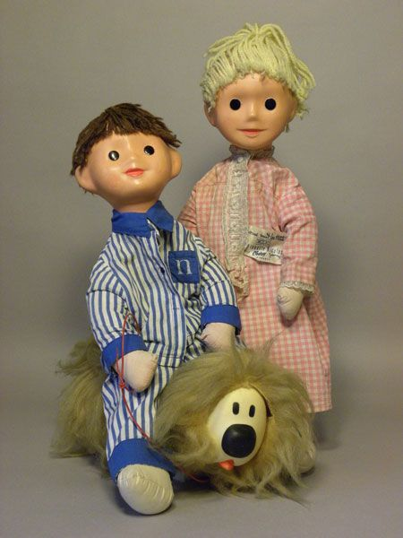 Pimprenelle, Nicolas and Pollux character toys, as featured in Le Journal De Nounours, France, 1965, by Clodrey.