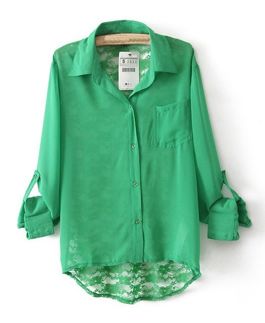 Single Pocket Shirt with Lace Insert Details