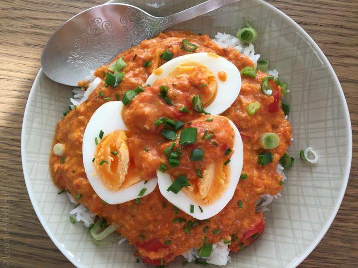 vegetarische curry met ei liggend