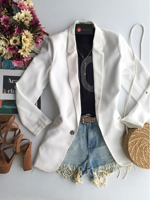 573f235b5 Blazer Max White | blazer em 2019 | Roupas, Blazer feminino e Moda