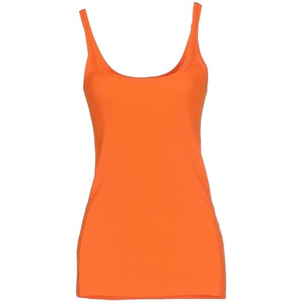 Ralph Lauren Vest ($43) ❤ liked on Polyvore featuring outerwear, vests, tops, orange, ralph lauren vest, orange jersey, ralph lauren jersey, cotton jersey and sleeveless jersey