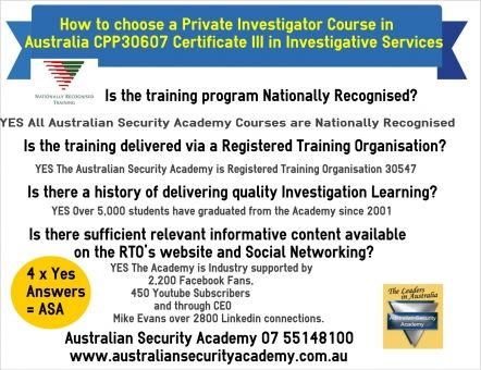 Private Investigator Course Australia, NSW< Qld, Vic, Tas, SA, WA.