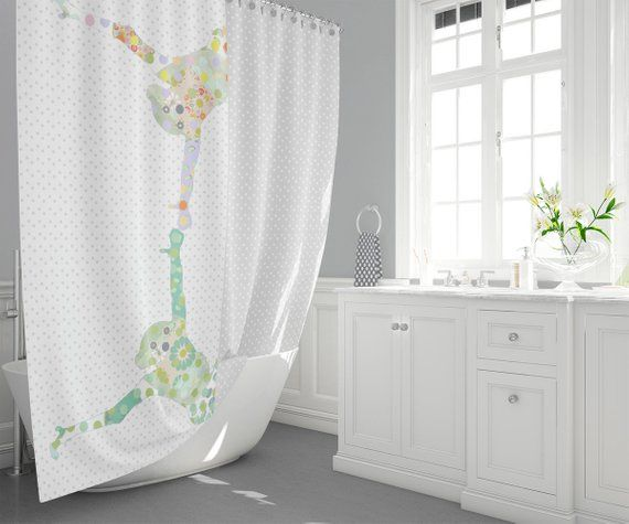 Gray And White Unisex Kids Shower Curtain Kids Bathroom Decor