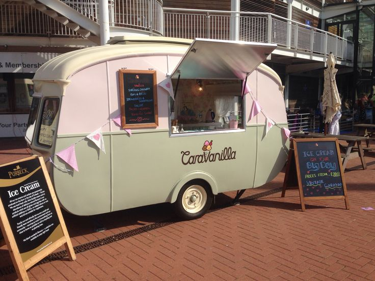 Vintage 1960s caravan beautifully restored in to an ice cream van. Available to hire for your big day x
