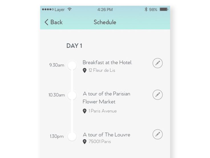 Schedule design by Kristina Kiselyte