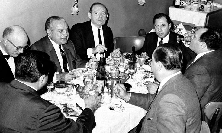 Carlos Marcello, Santo Trafficante Jr. and Frank Ragano, left to right, were among a group of mobsters and attorneys who dined at La Stella Restaurant in New York after appearing before a grand jury in the 1970s.