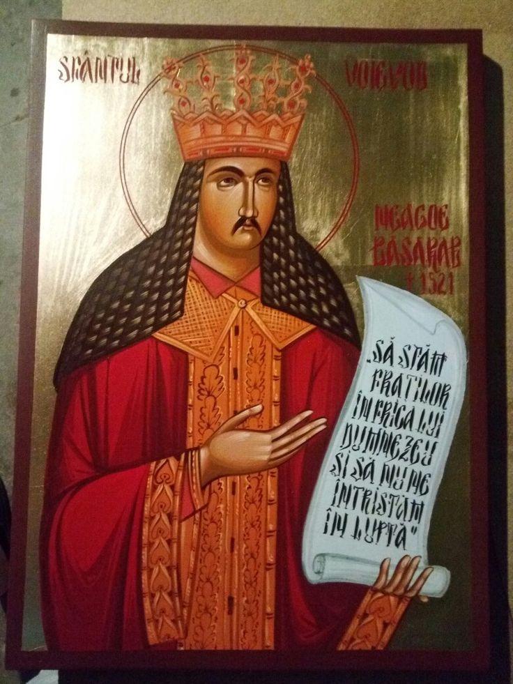 Sfantul Voievod  Neagoe Basarab +1521 Blat de lemn si tempera cu emulsie de ou 45/32