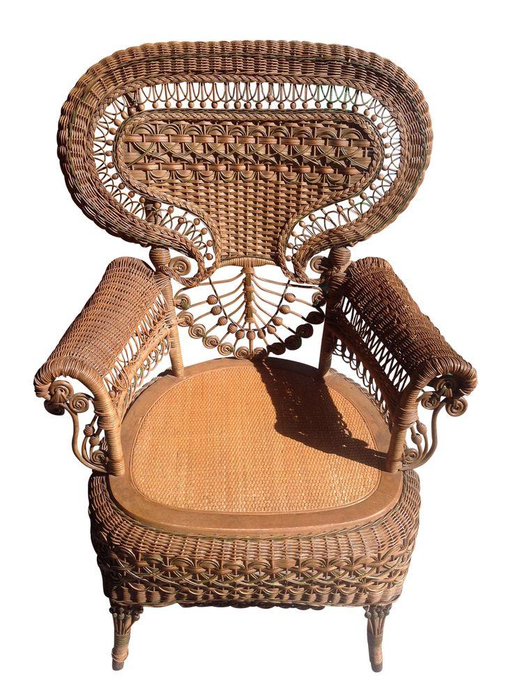 19th c rare heywood wakefield wicker chair chairish