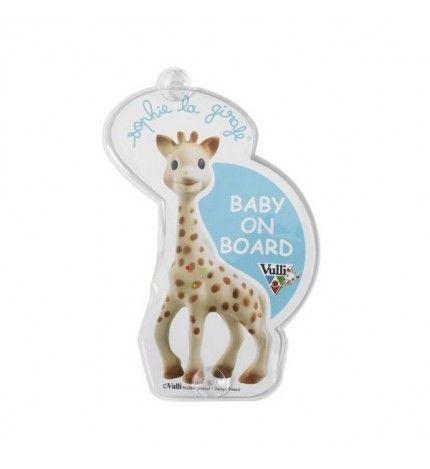 Żyrafa Sophie uwaga dziecko w samochodzie