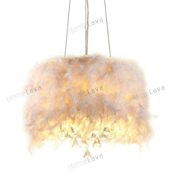 Iglesias Fluffy White Feathers and Crystal 3-light Pendant (€85) ❤ liked on Polyvore featuring home, lighting, ceiling lights, top sellers, crystal lights, white lamp, crystal hanging lamps, crystal hanging lights and white ceiling lamp