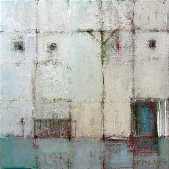 White houses II / Acrylic Painting/ Original by annakozlowskaluc
