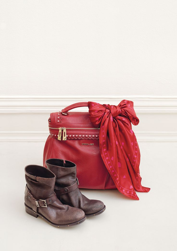 TWIN-SET Simona Barbieri: mini Cécile satchel bag and printed leather biker boots with straps, customised buckles and loop