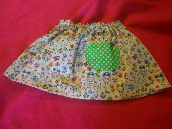 Pink and Green owl skirt, Green Polka dot skirt, Reversible skirt size