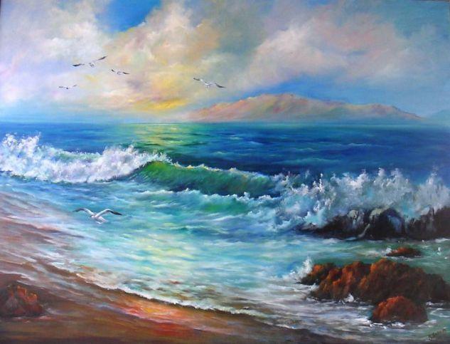 Comprar Gaviotas en la Playa. Oleo. 116x89 cms. - Pintura de Magdalena Romero Gil por 0,00 EUR en Artelista.com, con gastos de envío y devolución gratuitos a todo el mundo