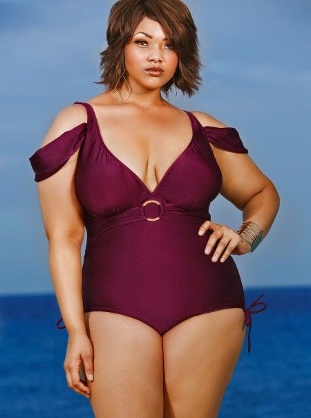"""Anguilla"" Cold Shoulder Plus Size Swimsuit - Merlot - Swimwear - Monif C  Please Repinm If You Like It.  #plussizeswimwear  http://swimwear.bestplussizewomensclothing.com"
